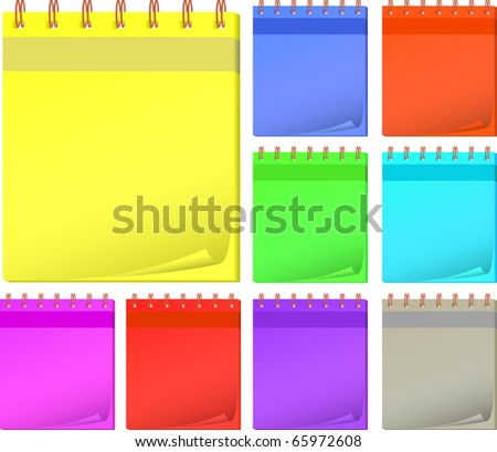 collection color notepads. Vector illustration.