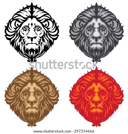 Collection colored lion head - stock vector