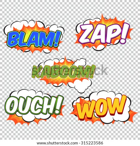 Collection colorful speech bubbles and explosions in pop art style. Elements of design comic books. Blam, zap, kaboom, ouch, wow from different comic fonts.  - stock vector