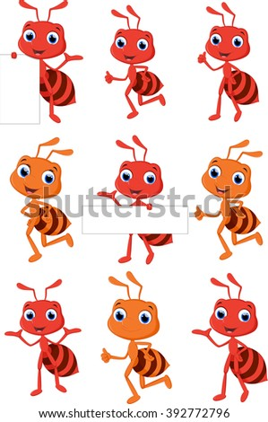 collection cute ant cartoon