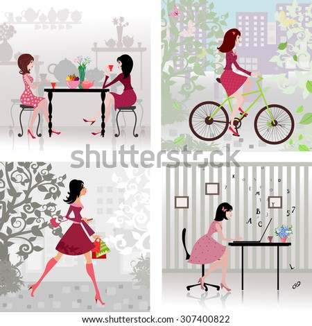Collection cute girls in the city. cityscape. landscape with tree. cafeteria. office worker - stock vector