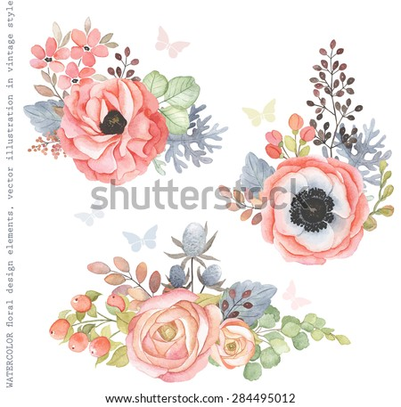 Collection decorative design of watercolor flowers and leaves in vintage style with butterflies. - stock vector