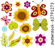 Collection decorative  isolated flowers and  butterflies on white (vector) - stock vector