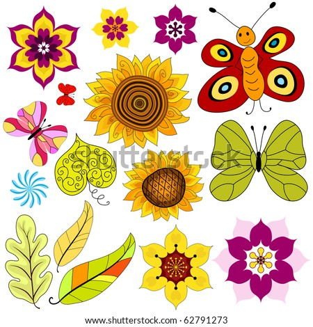 Collection decorative  isolated flowers and  butterflies on white (vector)