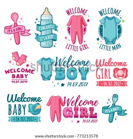 Collection Design Baby Shower Logo Set Stock Photo Photo Vector