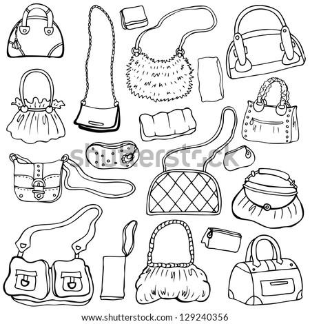 Collection design women's handbags. Hand drawn vector isolated. Set 1. - stock vector