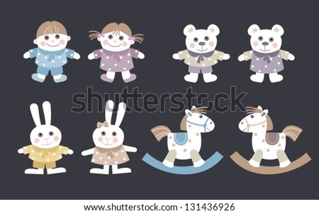 collection dolls and stuffed animal toys for kids