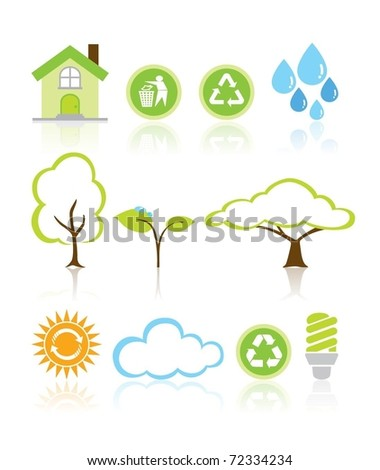 Collection Eco Design Elements Isolated Vector Illustration - stock vector
