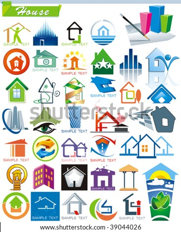COLLECTION_5 Exclusive Series of House vector Icons for Web and Construction or Real Estate concept with color ideas. Abstract creative element set of corporate templates. Place your own company name.