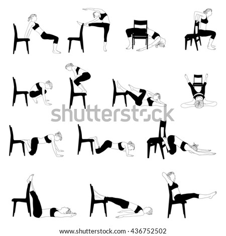 Collection exercises at home with a chair. Silhouette of a girl in various poses.