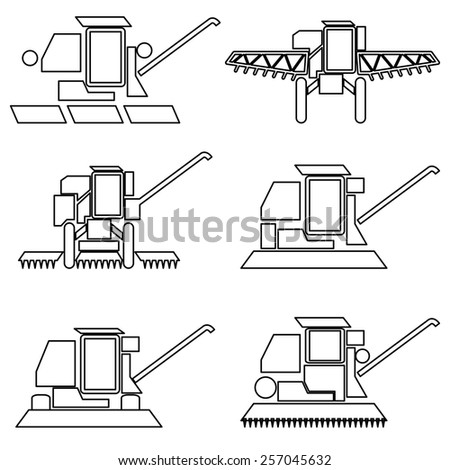 Collection flat icons with long shadow. Agricultural vehicles harvesting combine symbols. Vector illustration. - stock vector