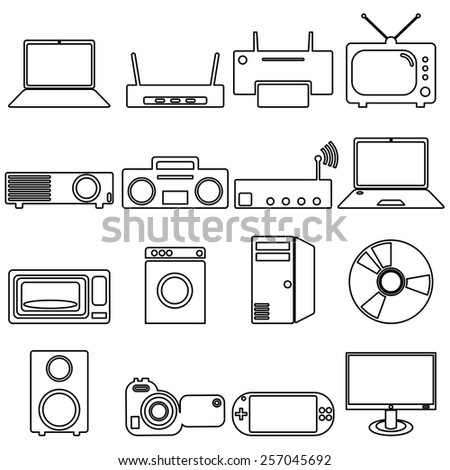 Collection flat icons with long shadow. Electrical devices symbols. Vector illustration. - stock vector