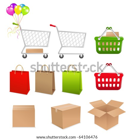 Collection For Shopping From Cart, Basket, Boxes And Packages - stock vector