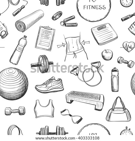 sports equipment coloring pages | Collection Freehand Drawing Sketches On Fitness Stock ...