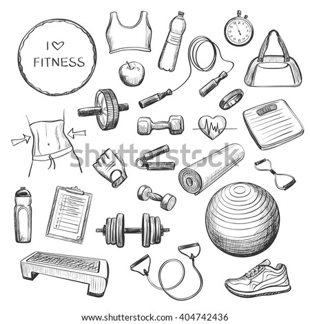 Collection freehand drawing sketches on fitness . Accessories , fitness equipment , clothing for sports . Isolating objects on a white background . - stock vector