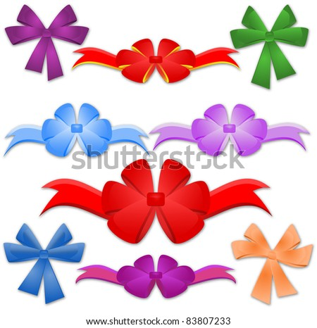 Collection from nine bows. Vector illustration