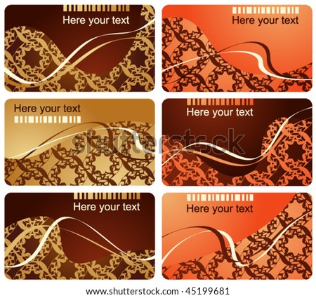 Collection from six business cards - stock vector