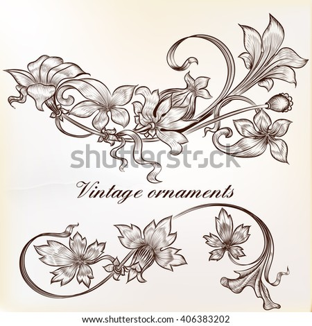 Collection from two vector vintage design elements high detailed hand drawn flourishes with flowers - stock vector