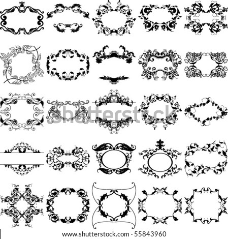 Collection from vintage frame - stock vector