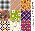 Collection geometric and floral seamless patterns (vector) - stock vector