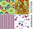 Collection geometric colorful seamless patterns (vector) - stock photo