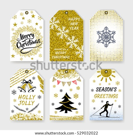 Collection gift tags. Christmas lettering. Happy New Year! Merry Christmas. Holiday label in black white and gold. Gold lettering design with confetti pattern. Vector design.