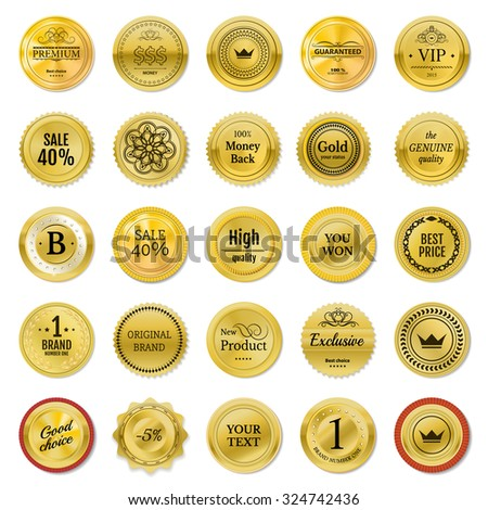 Collection gold labels for promo seals. Can be use for print, website, online-shop, design certificate. Quality stickers round. Vector retro objects on white background - stock vector