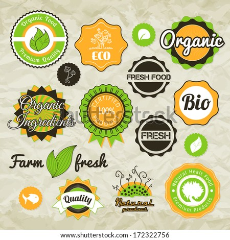 Collection green vector labels, badges and icons, bio eco natural certified fresh theme, vintage retro grunge set - stock vector