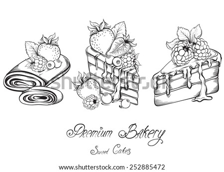 Collection Hand drawn of beautiful slices Cakes with icing and berry. Sketch Vector illustration. - stock vector