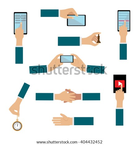 Collection  hands showing different gestures. A large set of flat icons hand and equipment, phones, tablets, laptops. Hand gestures - stock vector