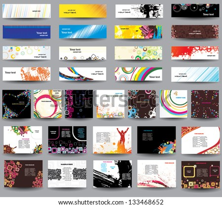 Collection headers on different topics. - stock vector