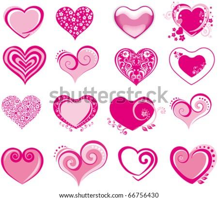 collection heart vector - stock vector