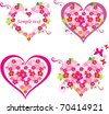 collection heart vector.  floral hearts. love. - stock vector