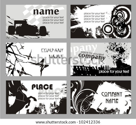 Collection horizontal grunge business cards - stock vector