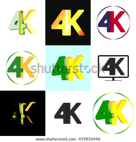 Collection icons and logos 4K, concept isolated symbol design, abstract backgrounds, ultra high definition television technology, vector illustration