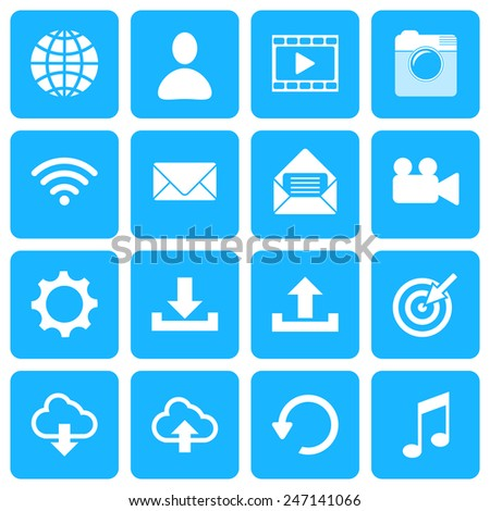Collection icons for web and mobile apps. Vector illustration. - stock vector