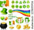 Collection illustrations of Saint Patrick's Day symbols. - stock vector