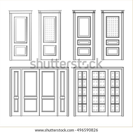 Collection interior doors Set Technical Drawing. Classic interior doors on a dark background.  sc 1 st  Shutterstock : door drawing - pezcame.com