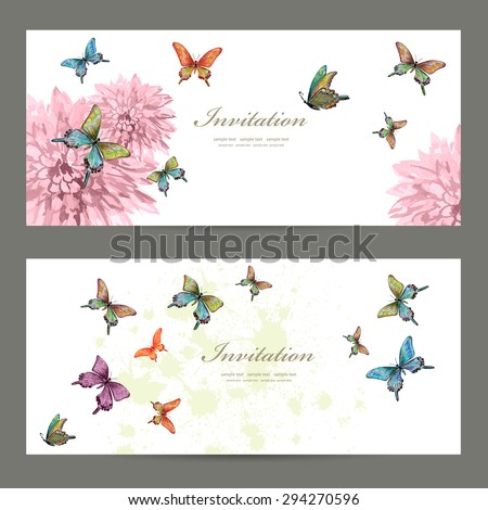 collection invitation cards with butterflies. watercolor painting. vector illustration - stock vector