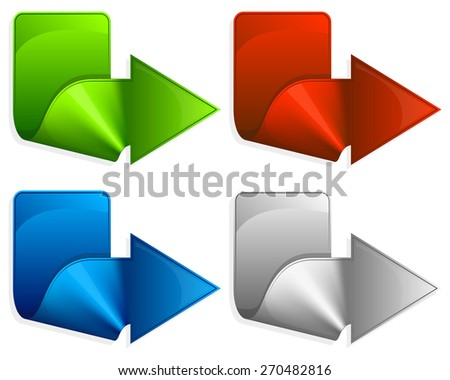 Collection label with arrow in different color - stock vector