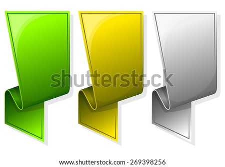 Collection label with curled edge. in different color - stock vector