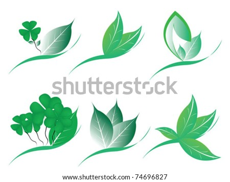 collection leaf design for your text - stock vector