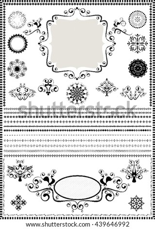 Collection luxury borders and circular ornaments on white background   - stock vector