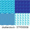 Collection marine waves - patterns - stock vector