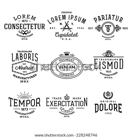 collection monochrome hipster vintage label , logo , badge for your business or t-shirt print with rose, knife, crown, ribbon, starburst, monogram - stock vector