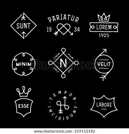 collection monochrome hipster vintage line label, logo, badge for your business or t-shirt print with arrow, crown, heart, shield, ribbon - stock vector