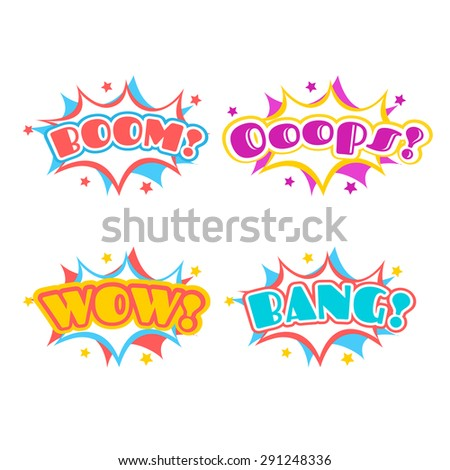 Collection multicolored comic sound Effects in vector - stock vector