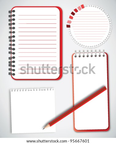 Collection Notebook Paper Vector - stock vector