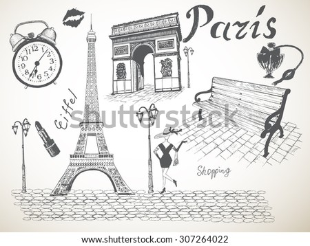 Collection  objects of Paris. Eiffel tower,Triumphal Arch , girl, clock,bench, pomade, kiss lipstick.Vector illustration