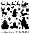 Collection of a christmas silhouettes. - stock photo